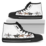 Women's Cross Country Horse Lover's Sneakers Footwear - Brown Horses on Converse High Tops Style - White Canvas Shoe with Black Sole