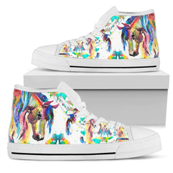 Women's Watercolor Horse Shoe - White Sole
