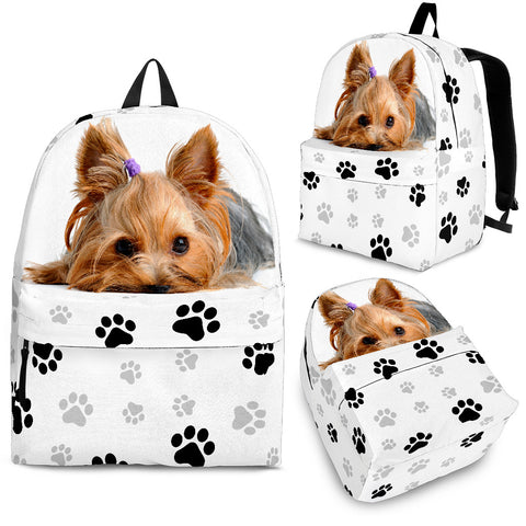 Adorable Little Yorkie Backpack - Tan Dog on White Backpack - Adult, Youth and Child Sizes