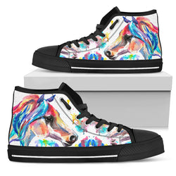 Women's Striking Watercolor Horse Sneakers Footwear - Multi-Color Horse  on White Converse High Tops Style - Black Sole