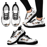 Women's Cross Country Horse Sneaker - Sketcher Shoes Style with Brown and Black Horses on a White Shoe with a Black Sole
