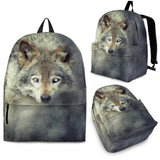 Wolf Backpack - Amazing Silver, Gray, Blue and Natural Colored Eyes - 3 Sizes - 4 Images