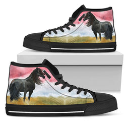 Women's Friesian Horse Sneakers Footwear - Black Horse Silhouette on White, Beige and Red Converse High Tops Style - Black Sole
