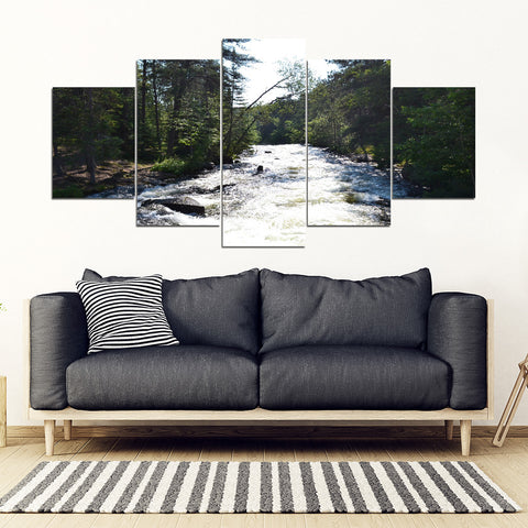 Relaxing Mountain Stream 5 piece canvas frame wall art