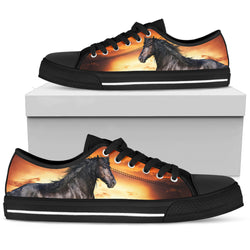 Women's Striking Black Stallion Horse Sneakers Footwear - Black Horse  Orange Converse Low Top Style - Black Sole
