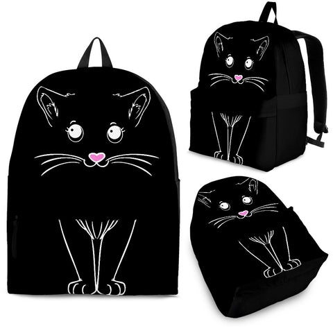 Cute Black Kitty Cat Backpack - Black Backpack with White Cat Art - Adult, Youth and Child Sizes