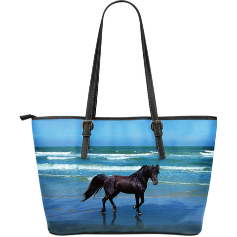 Black Beauty Horse Leather Tote Bag - Blue and Black Vegan Leather - Exclusively Licensed Artwork