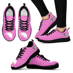 Pink Women's Horse Lover Sneakers - Sketcher Shoes Style with White Horse Silhouette on a Pink Shoe with Black Sole