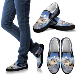 Two White Horses in Moonlight Casual Slip On Shoes - Vans Sneakers - Casual Shoes to Wear with Jeans - Women's and Kid's Sizes!