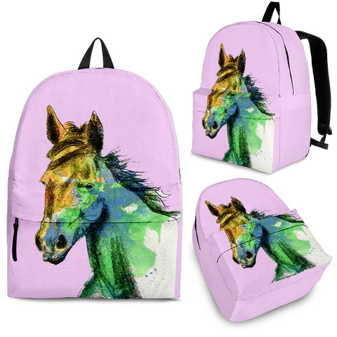 Pretty Pink Watercolor Horse Backpack - Pink Backpack with Horse Watercolor Art - Adult, Youth and Child Sizes