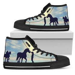 Women's Blue Sky Horse Sneakers Footwear - Black Horses Silhouettes on Blue Converse High Tops Style - Black Sole