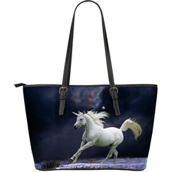 Large Leather Moonlit Unicorn Zipper Tote - Midnight Blue and White Tote - Exclusively Licensed Artwork