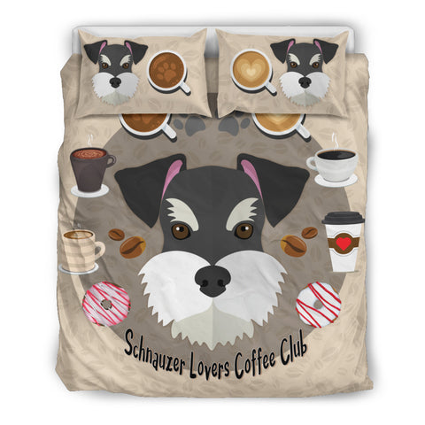 Coffee and Schnauzer Lovers Bedding Set