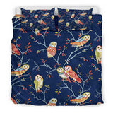 Owls Lovers Bedding - Blue Comforter Cover - Black Backside