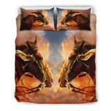 Rich Rustic Horse Head in the Clouds Bedding Set - Brown and Rust Luxury Duvet Set - Twin, Double, Queen and King Size