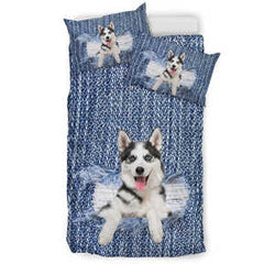 Siberian Husky Denim Bedding Set