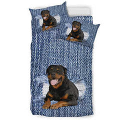 Rottweiler Denim Bedding Set