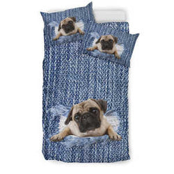 Pug Denim Bedding Set