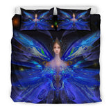 Fairy Magic Duvet and Pillow Covers Set - Blue Comforter Cover with Fairy and Beige or Black Back Side