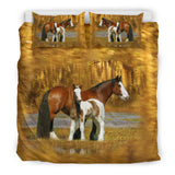 Brown and Gold Mom and Baby Horse Bedding - Gold Luxury Duvet Set - Exclusively Licensed Artwork - Twin, Double, Queen and King Size