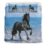 Black Stallion on Beach Horse Bedding - Blue and Black Luxury Duvet Set - Exclusively Licensed Artwork - Twin, Double, Queen and King Size