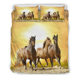 Brumby Horse Lovers Bedding Set - Brown, Gold and Yellow Luxury Duvet Set - Twin, Double, Queen and King Size