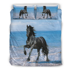 Black Stallion on the Beach Bedding Set