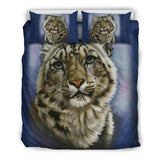 "Snow Leopard ""Jewel"" Bedding Set - Blue - Exclusive Artwork - Black or White Backing - Twin, Queen and King"