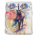 White Watercolor Horse Collection Bedding Set - Lavender and Pink on White Luxury Duvet Set - Twin, Double, Queen and King Size