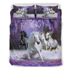 In a Purple Dream White and Black Horse Bedding Set