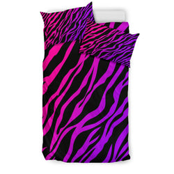 Fuchsia and Purple Zebra Print Bedding Set - Black Backside