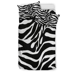 Zebra Print Bedding Set - Black and White - Black Backside