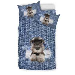 Schnauzer Denim Bedding Set