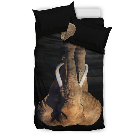 Dream Elephant Bedding Set - Grey and Black Luxury Duvet Set - Twin, Double, Queen and King Size