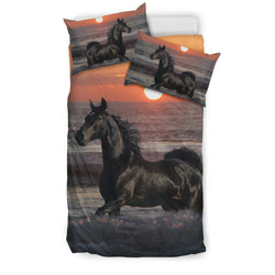 Black Stallion Beach Sunset Horse Bedding - Black & Red Luxury Duvet Set - Exclusively Licensed Artwork - Twin, Double, Queen and King Size