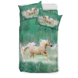 Palomino in the Mist Horse Bedding (Black Back Side) - Mint Green Luxury Duvet Set - Exclusively Licensed Artwork - Twin, Double, Queen King