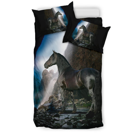 Black Stallion Waterfall Horse Bedding  - Black and Blue Luxury Duvet Set - Exclusively Licensed Artwork - Twin, Double, Queen and King Size