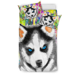 Watercolor Husky Puppy Bedding Set