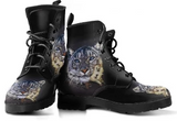 Women's White Tiger Vegan Leather Boots - Black Leather Boots