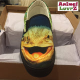 Striking Bearded Dragon Lizard Slip-On Sneakers Footwear- Vans Shoes Style - Blue and Green - Men's, Women's and Children's Sizes!