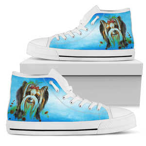 Women's Watercolor Yorkshire Terrier High Top Sneakers - Converse High Tops Style Blue Shoe with White Sole