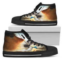 Women's Sweet Kisses Horse Sneakers Footwear - Brown Horse Converse High Tops Style - Black Sole