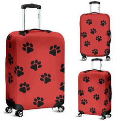 Red and Black Paws Luggage Cover for Dog and Cat Lovers