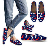 Women's Patriotic Dachshund Lover's Casual Shoes - Ladies Designer Shoes- Blue Shoe with Red and White Doxie Silhouettes