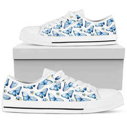 Women's Blue Butterfly Low Top Sneakers