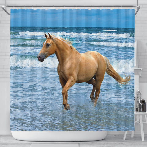 Palomino on the Beach Horse Shower Curtain