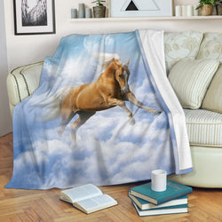Palomino Horse in the Clouds Fleece Blanket - Blue and White TV Blanket - Exclusively Licensed Artwork - 3 Sizes - Youth, Large, X-Large
