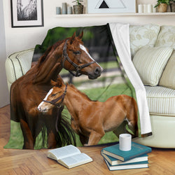 Chestnut Mother and Baby Horse Fleece Blanket - Brown and Green TV Blanket - Exclusively Licensed Artwork - 3 Sizes - Youth, Large, X-Large