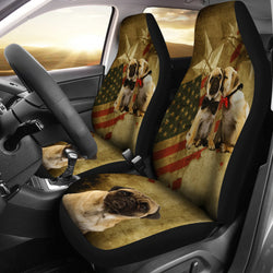 Adorable Patriotic Pugs Auto Seat Cover - Brown - Fits most Bucket Seats - Easy to Install