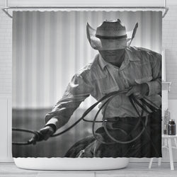 Hard at Work Roping Cowboy Shower Curtain